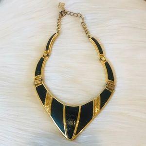 BCBG Gold & Black Leather Triangle Collar